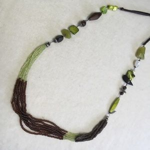 Green Brown Beaded Coldwater Creek Necklace